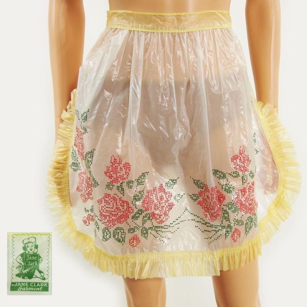 White waist apron ruffle - Details About Vtg 50s Jane Clark Semi Sheer White Yellow Plastic Vinyl Roses Ruffle Half Apron