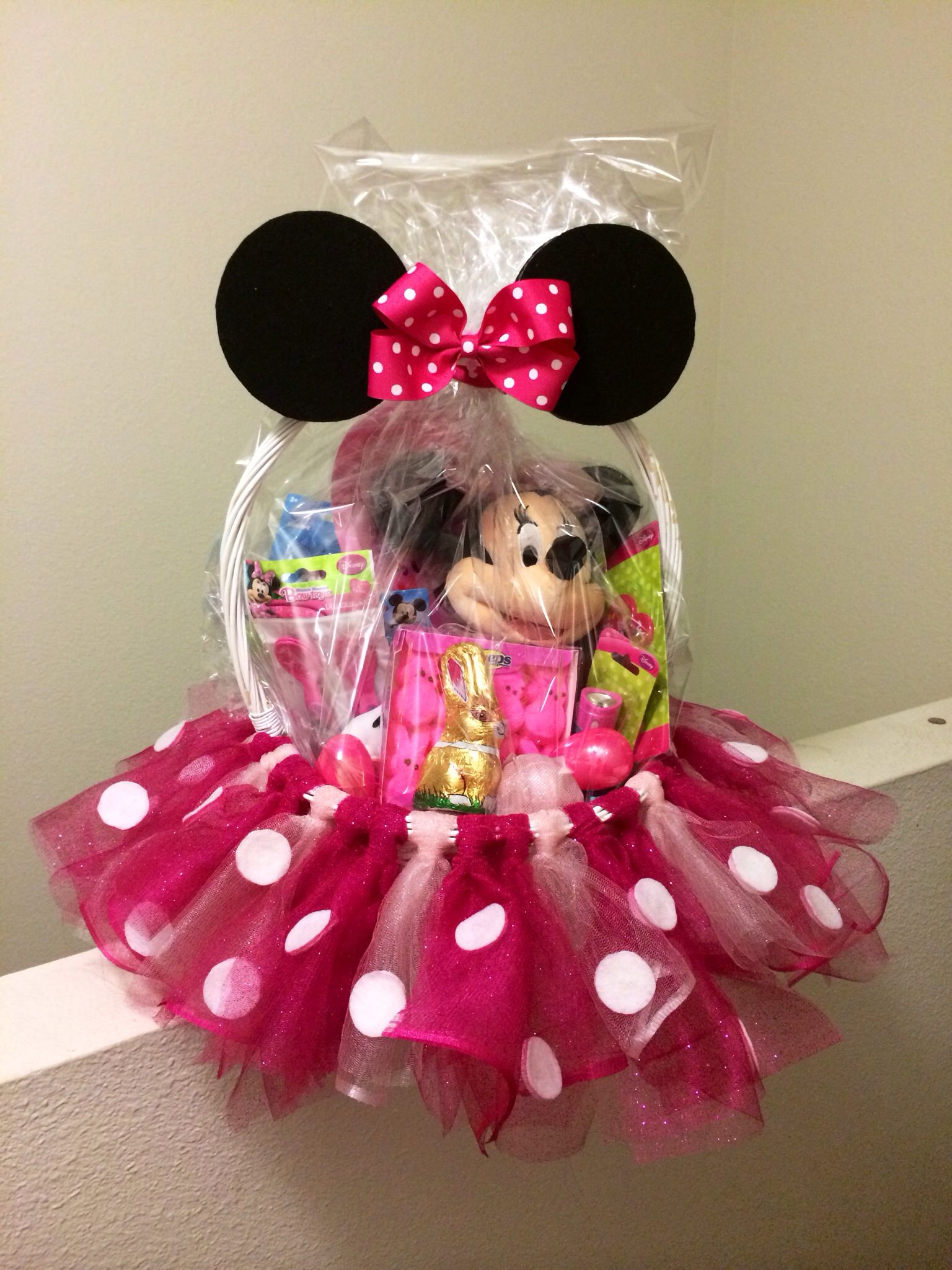 Minnie mouse basket with tulle the ultimate list of minnie mouse party ideas diy crafts and disney themed fun food recipes easter disney minnimouse craft gift easterbasket negle Choice Image