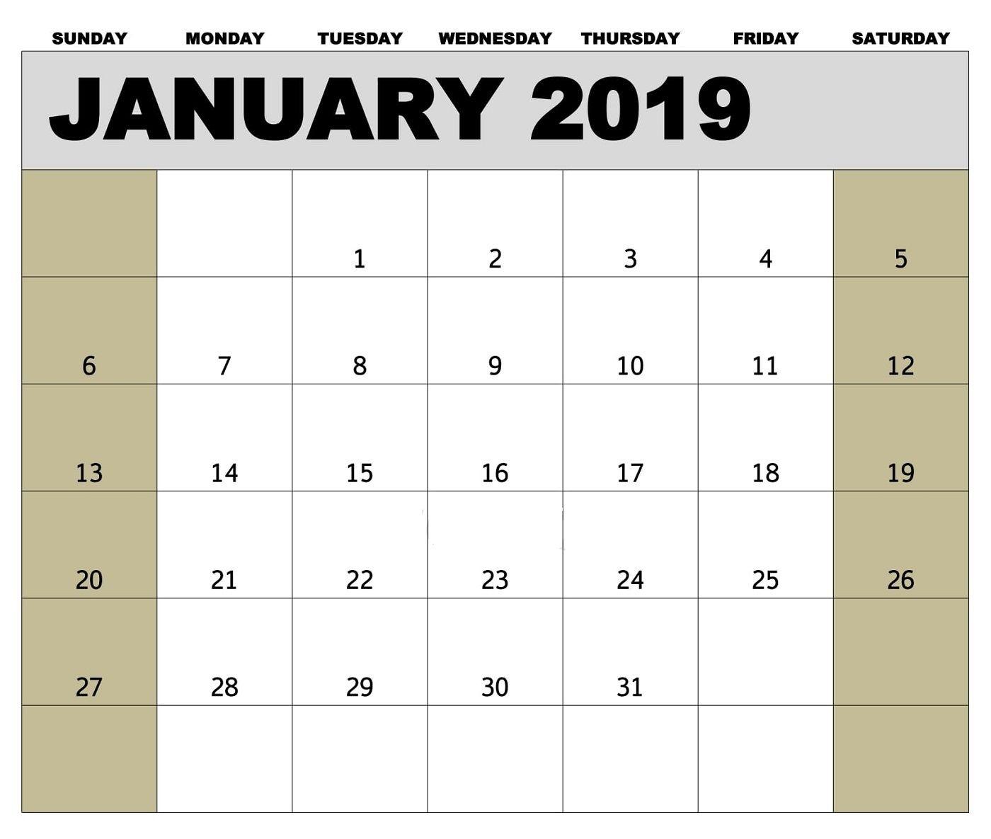 Calendar January Canada Printable Blank Archives