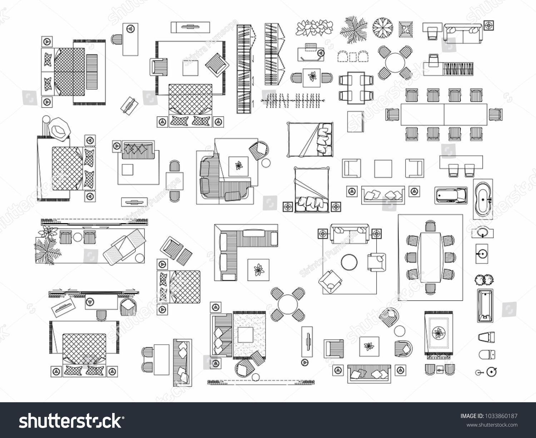 Top View Of Set Furniture Elements Outline Symbol For Bedroom