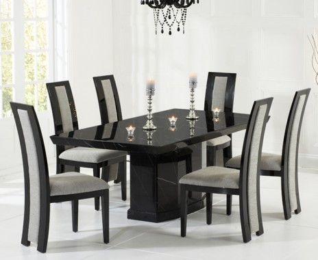 Carvelle 200cm Black Pedestal Marble Dining Table with Verbier Chairs & Carvelle 200cm Black Pedestal Marble Dining Table with Verbier ...