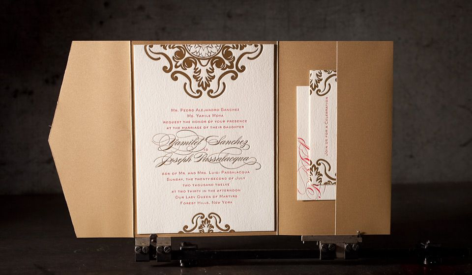 yes foil stamped wedding invitation no 12371 boxcar press