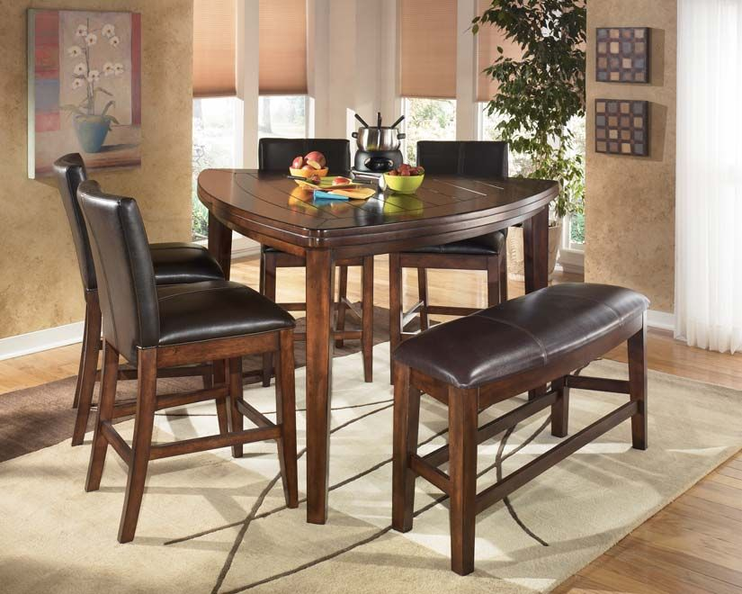 Details About Dining Room Ashley Larchmont Triangle Dark Wood Table Bar  Height Home Zone Furniture