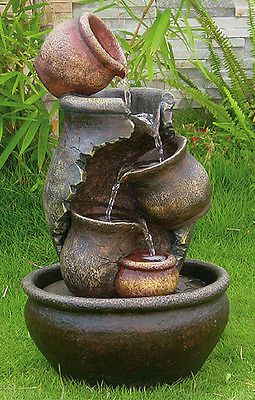 Beald 5 Tier Oil Jar Water Feature Fountain Cascade Garden Outdoor Cascading Jug Solar Water Fountain Water Features In The Garden Garden Water Fountains