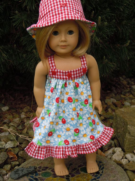 Handmade Summer Sundress and Hat for 18 inch & American Girl Doll ...