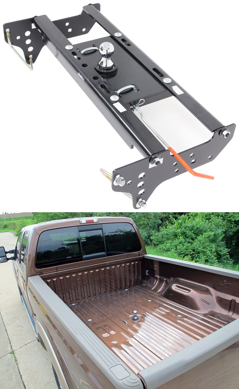 for your f 250 f 350 underbed gooseneck trailer hitch with installation kit wheel well accessible handle makes it easy to engage and disengage  [ 1000 x 1624 Pixel ]