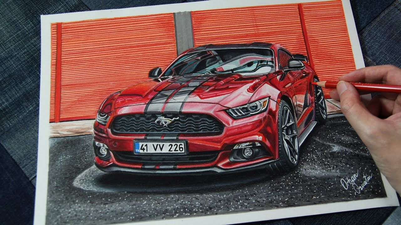 Ford Mustang Ruby Red Realistic Car Drawing Car Drawings Red Mustang Mustang