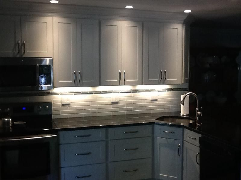 Remodeled Kitchen Features White Shaker Cabinets With Crown Molding Now Had Nice Flat Header Above Tiny