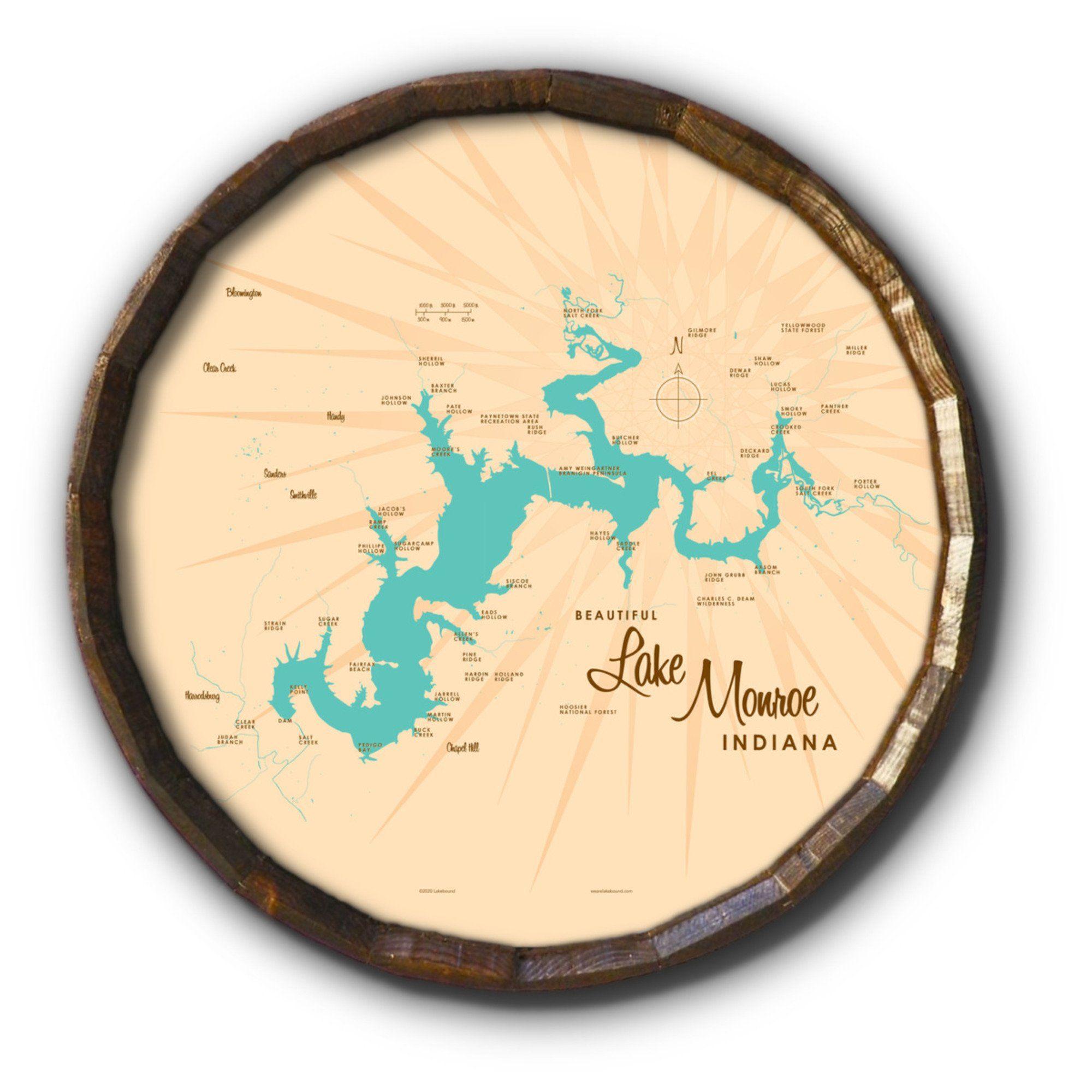 Lake Monroe Indiana, Barrel End Map Art - 21 x 21 inches / Black