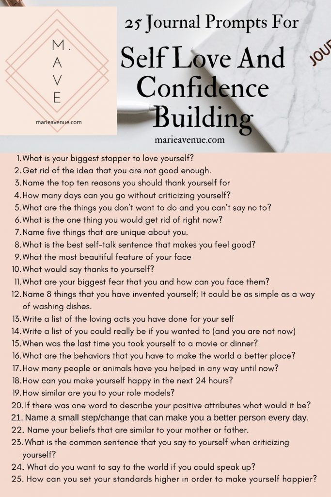 25 Journal Prompt For Self Love And Confidence Building - Marie avenue