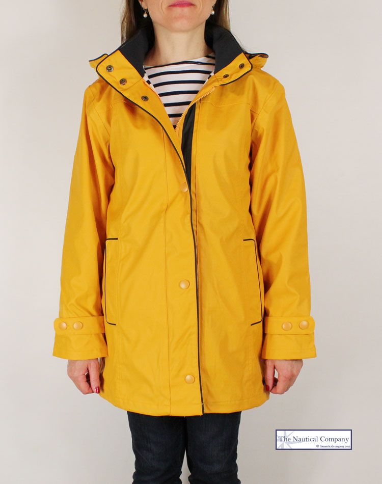 Women's raincoat yellow, striped lined with hood - THE NAUTICAL ...