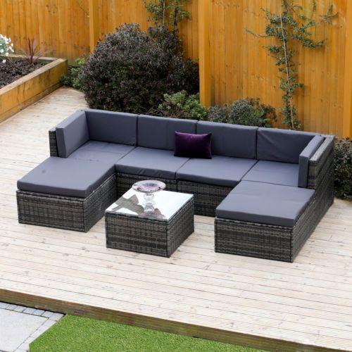 Black Grey Corner Modular Rattan Weave Garden Furniture Ottomans Middle Seat Ebay In 2020 Corner Sofa Garden Grey Corner Sofa Corner Sofa Covers