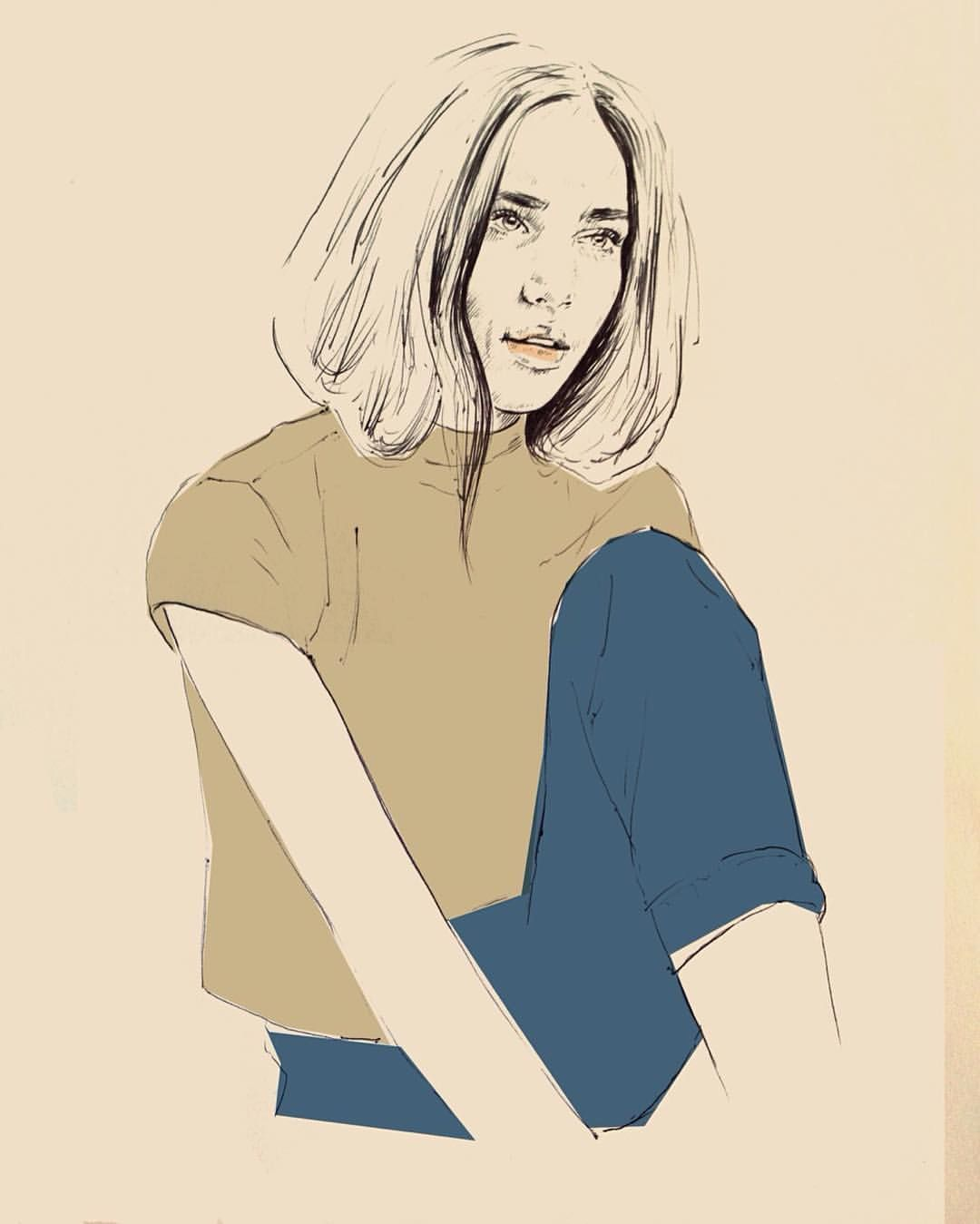 Trying some new stuff #art #colors #portrait #drawing #illustration #carolinemarine #carolinehebel (hier: Berlin, Germany)
