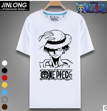 a21447230 One Piece T Shirt Luffy Straw Hat Japanese Anime T Shirts O-neck Black T