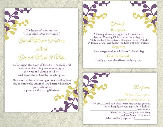 DIY Wedding Invitation Template Set Download by TheDesignsEnchanted - best of wedding invitation samples text
