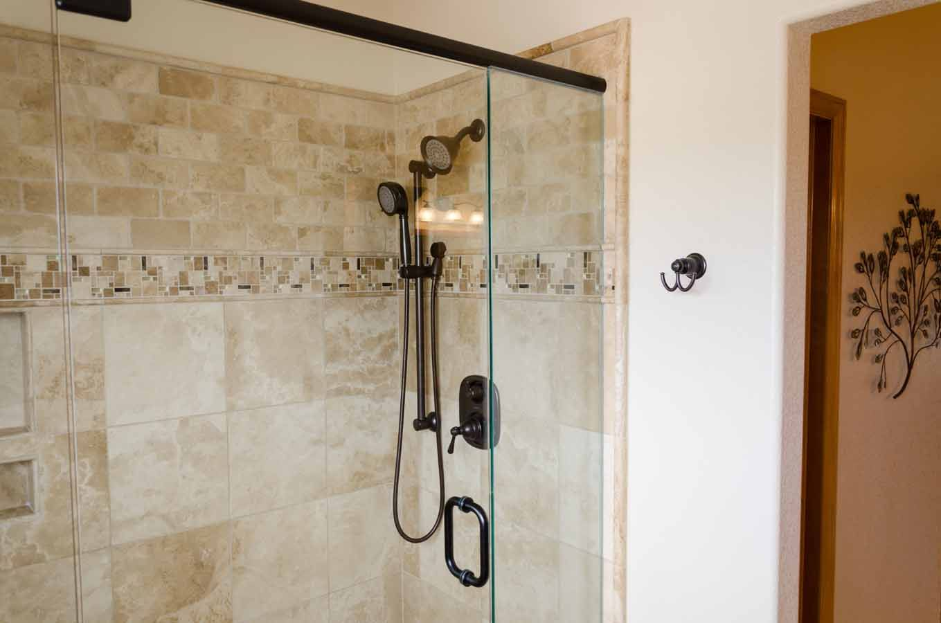Bathroom remodel Colorado Springs, travertine wall tile ...