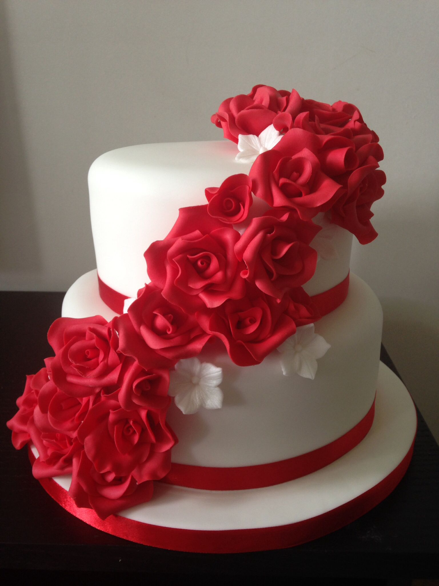 Red rose cascade two tier wedding cake Birthday cake