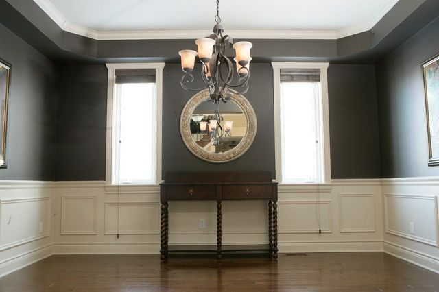 traditional dining room design with white molding chair rail and top dark color paint also. Black Bedroom Furniture Sets. Home Design Ideas