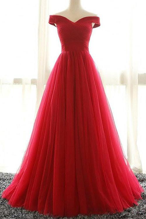 Red A line Tulle Off-shoulder Long Prom Dress,Red Evening Dress ...