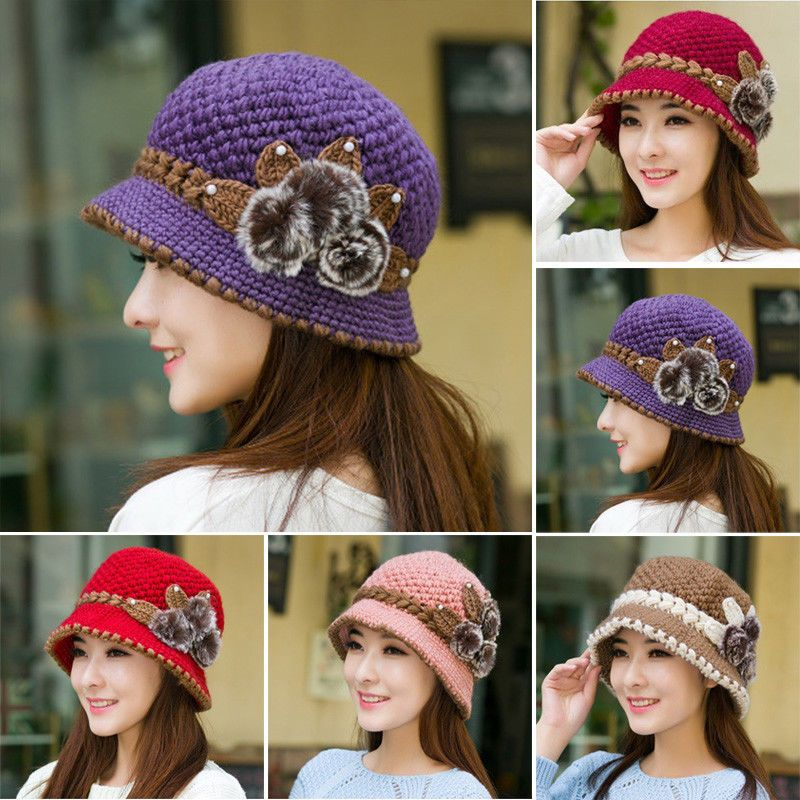 c408dee546f80 Ladies Women Winter Warm Crochet Knitted Ski Cap Flowers Decorated Ears Hat  Cap