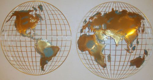 Something like this c curtis jere globe world map metal sculpture c curtis jere globe world map metal sculpture mid century signed wall art large 1 gumiabroncs Choice Image