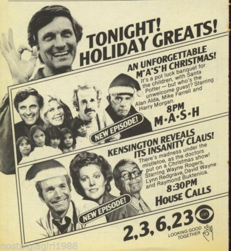 "1980 TV Guide Ad Mash ""Christmas"" EPS House Calls ""Christmas"" EPS CBS TV 