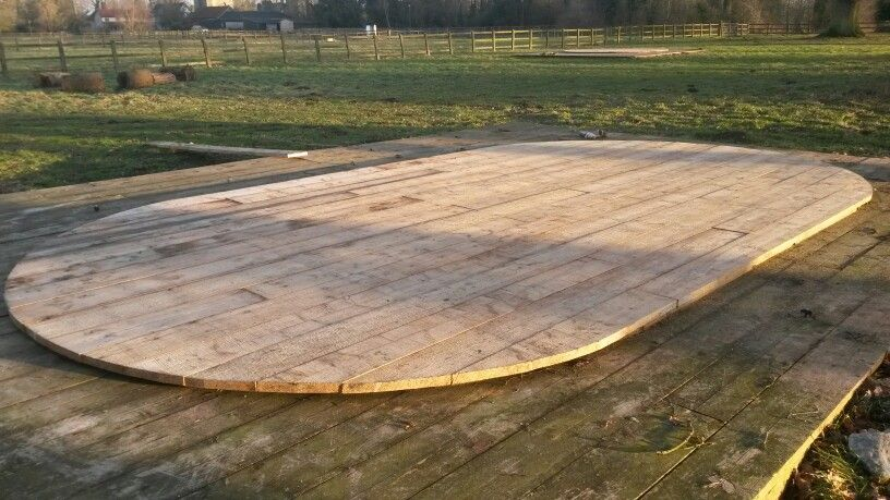 Finished oval deck ready for the medieval glamping tent