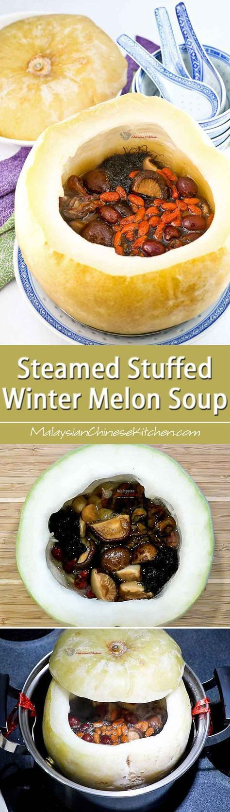 Steamed Stuffed Winter Melon Soup #wintermelon Make this special Steamed Stuffed Winter Melon Soup the centerpiece of your table spread for a family reunion or gathering. It is exciting and super delicious!| MalaysianChineseKitchen.com #wintermelon Steamed Stuffed Winter Melon Soup #wintermelon Make this special Steamed Stuffed Winter Melon Soup the centerpiece of your table spread for a family reunion or gathering. It is exciting and super delicious!| MalaysianChineseKitchen.com #wintermelon