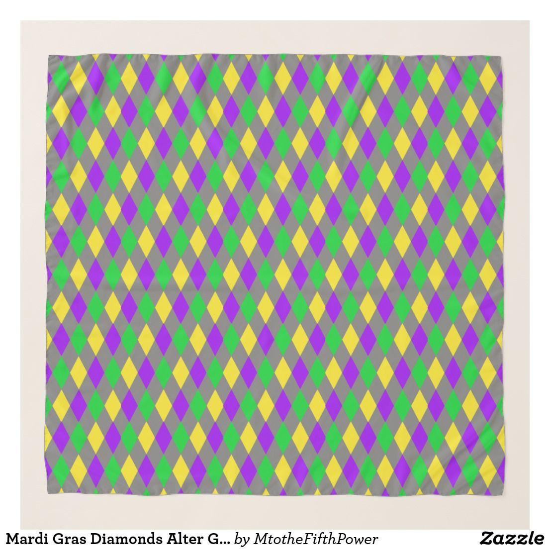 Mardi Gras Diamonds Alter Green Yellow Purple Scarf