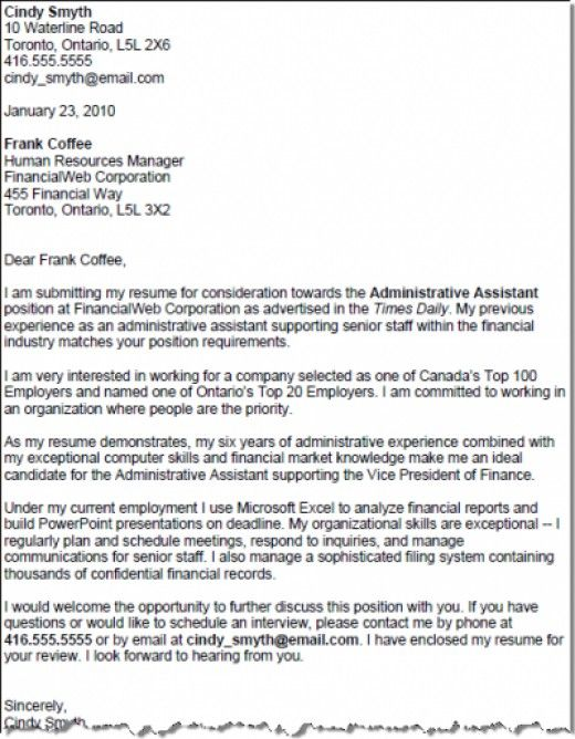 Cover Letters For An Administrative Assistant\'s Resume ...