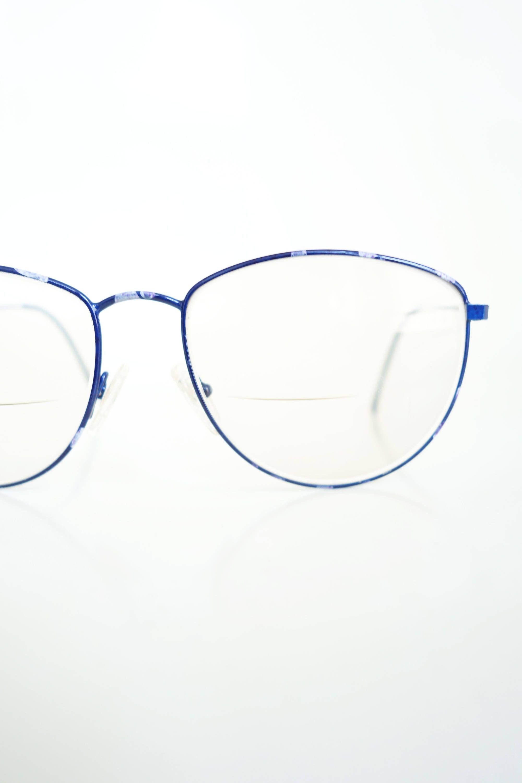 1980s Round Blue Wire Rim Glasses Eyeglasses Sapphire Floral | Dream ...