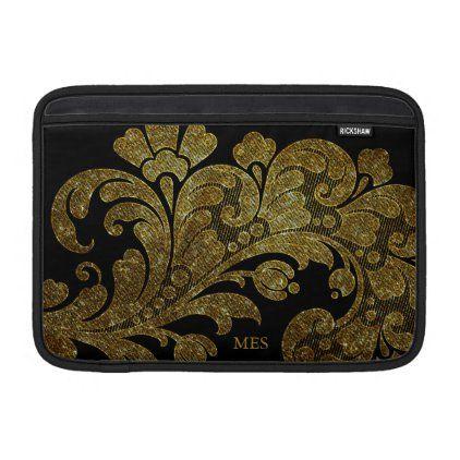 Vintage Gold Glitter Lace Floral Design & Monogram MacBook Air Sleeve | Zazzle.com