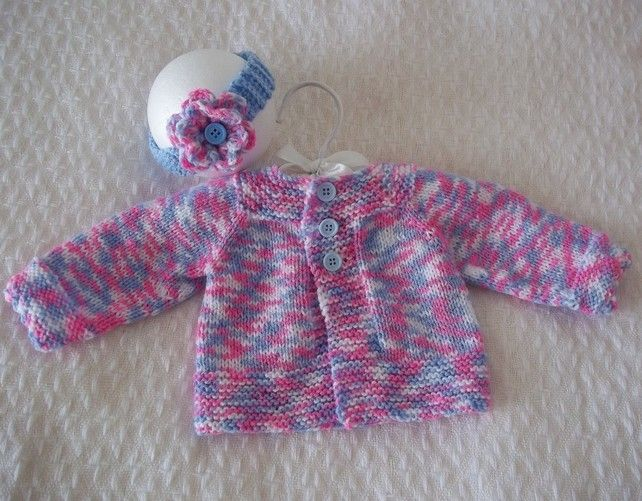Hand Knitted Baby Girls Cardigan  Headband Set £12.00