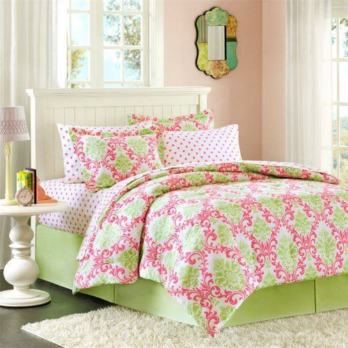 girly green and pink damask bedding set big girl room ideas