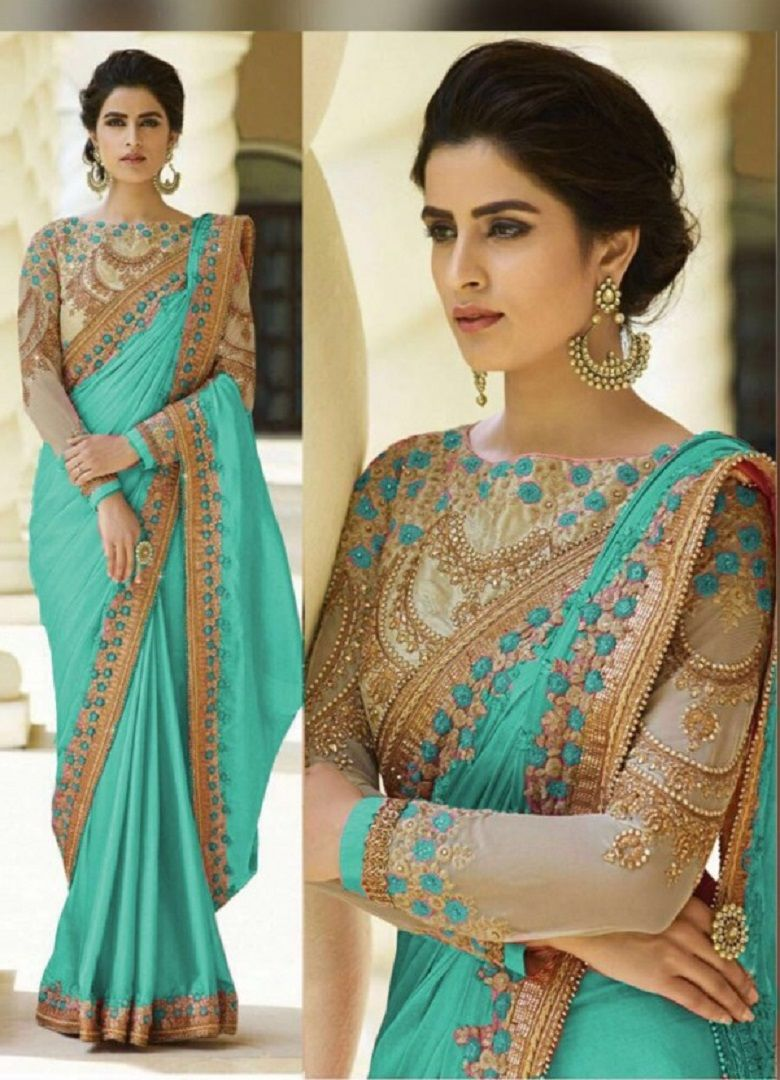 Shinon Saree in Sea Green Beautifully Embroidered with