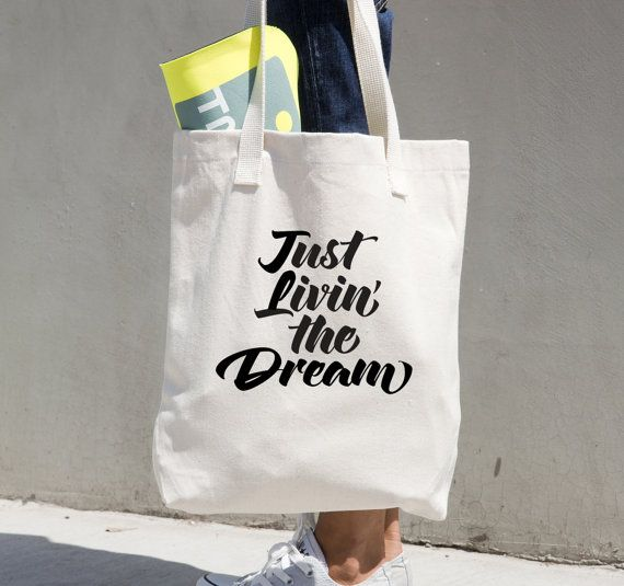 Just Livin' the Dream  Tote Bag Beach Tote Bag by 680andCo on Etsy