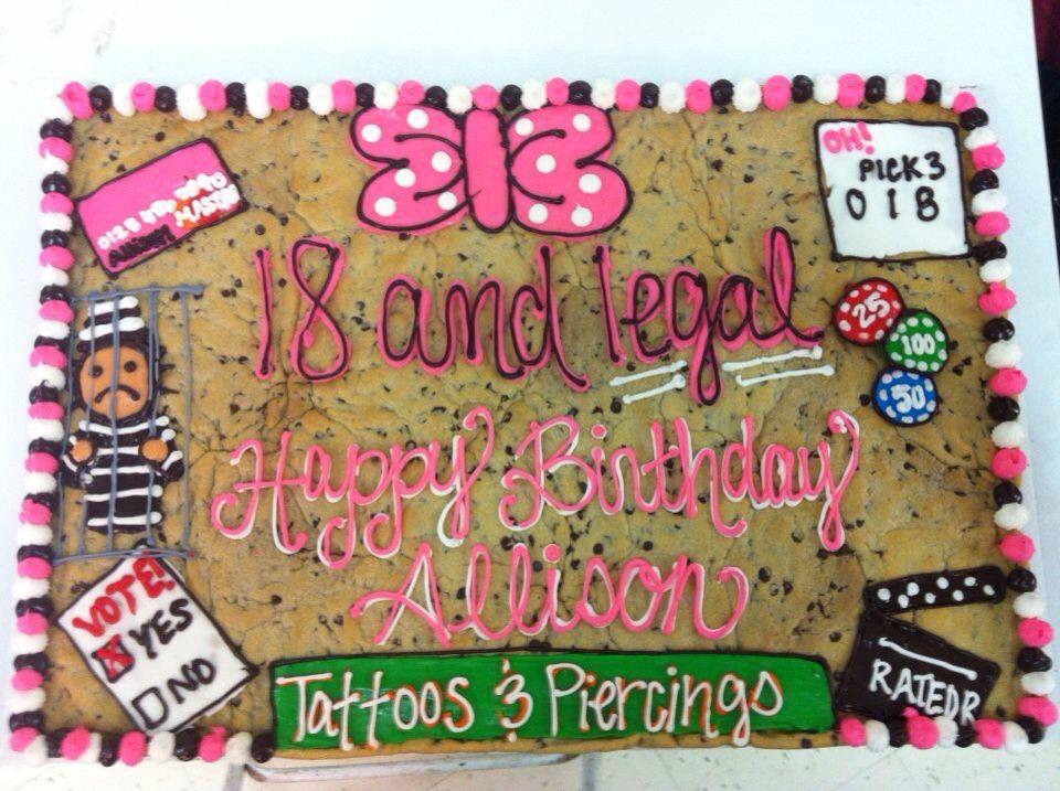 Enjoyable 18Th Birthday Cookie Cake 18Th Birthday Birthday Cookies Funny Birthday Cards Online Alyptdamsfinfo