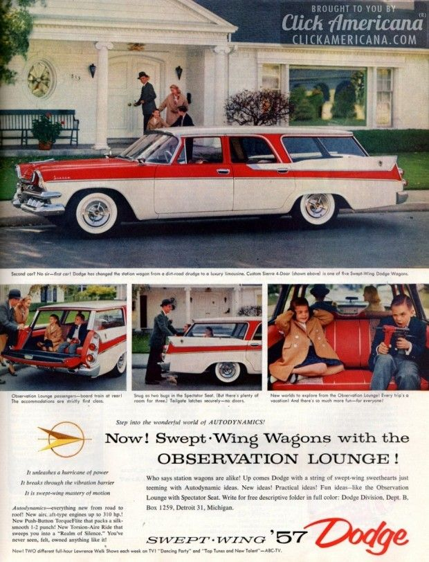 Swept-Wing Dodge station wagons with observation lounge! (1957)