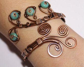 Anweisung Armband verstellbar handgefertigt Teal blau Draht ...