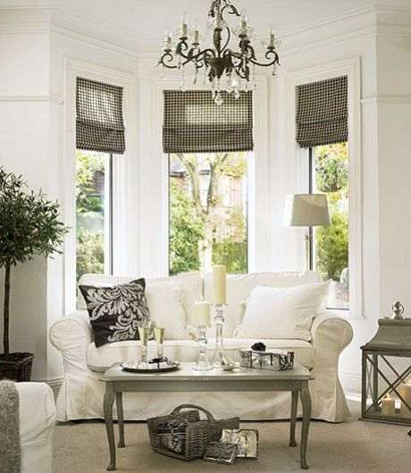 Bay Window Seat For A Lovely Addition: Bay Windows With Loveseat And Shades {Perfect For Mom's