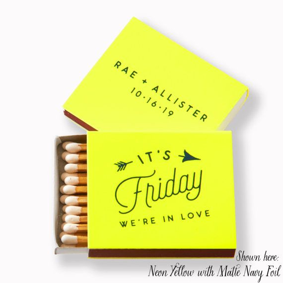 FRIDAY IN LOVE Matchboxes - Wedding Favors, Wedding Matches, Wedding Decor, Personalized Matches, Custom Matchboxes, Match Box Favor, Neon