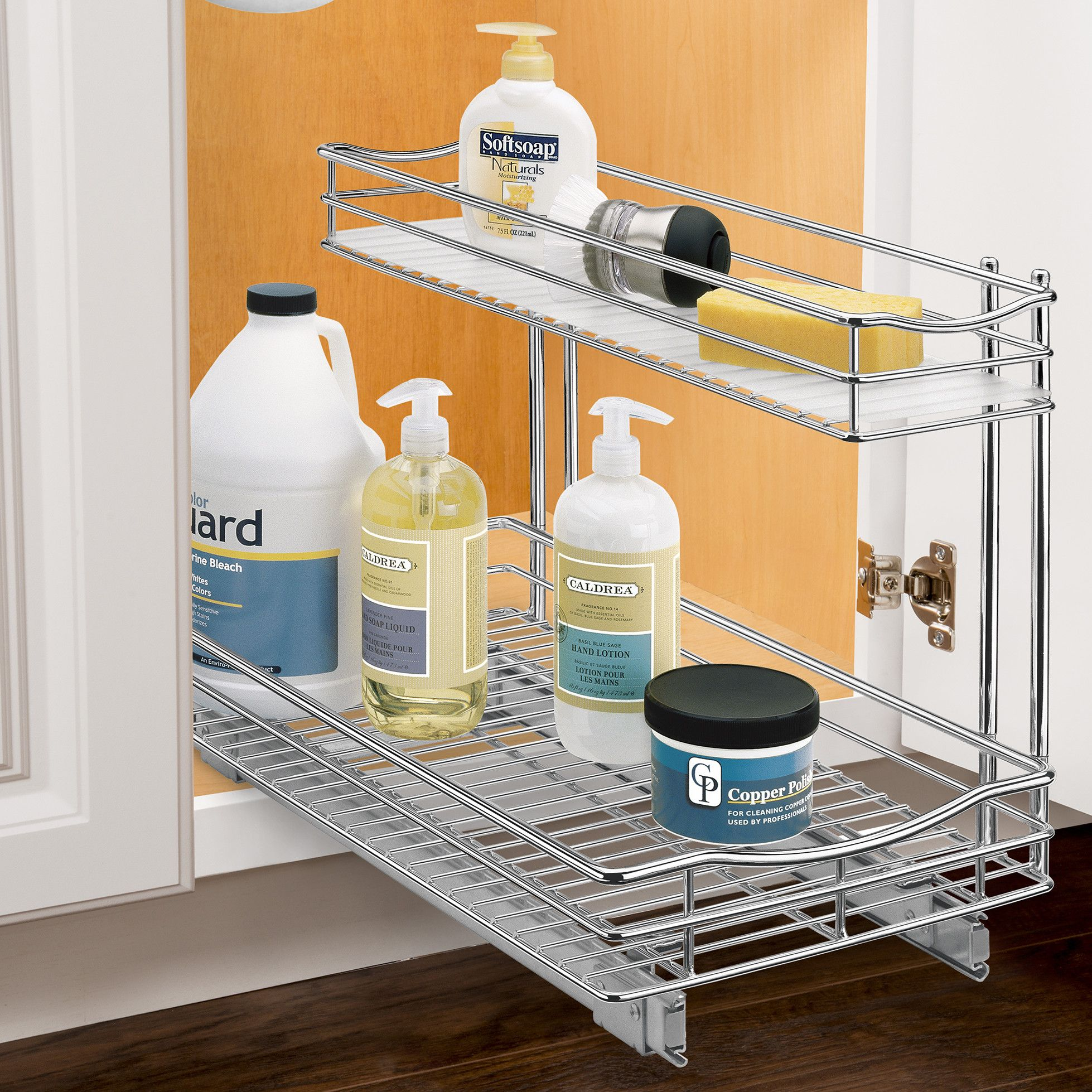 Lynk® Roll Out Under Sink Cabinet Organizer - Pull Out Two Tier Sliding Shelf - 11.5 in. wide x 18 inch deep - Chrome