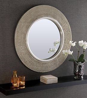 Rome Large Round New Wall Mirror Modern Champagne Silver Frame Art