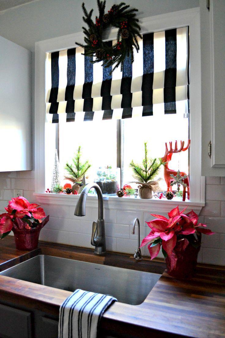No Sew Faux Roman Shade And My Christmas Kitchen Window Christmas Kitchen Kitchen Window Treatments Diy Christmas Kitchen Decor
