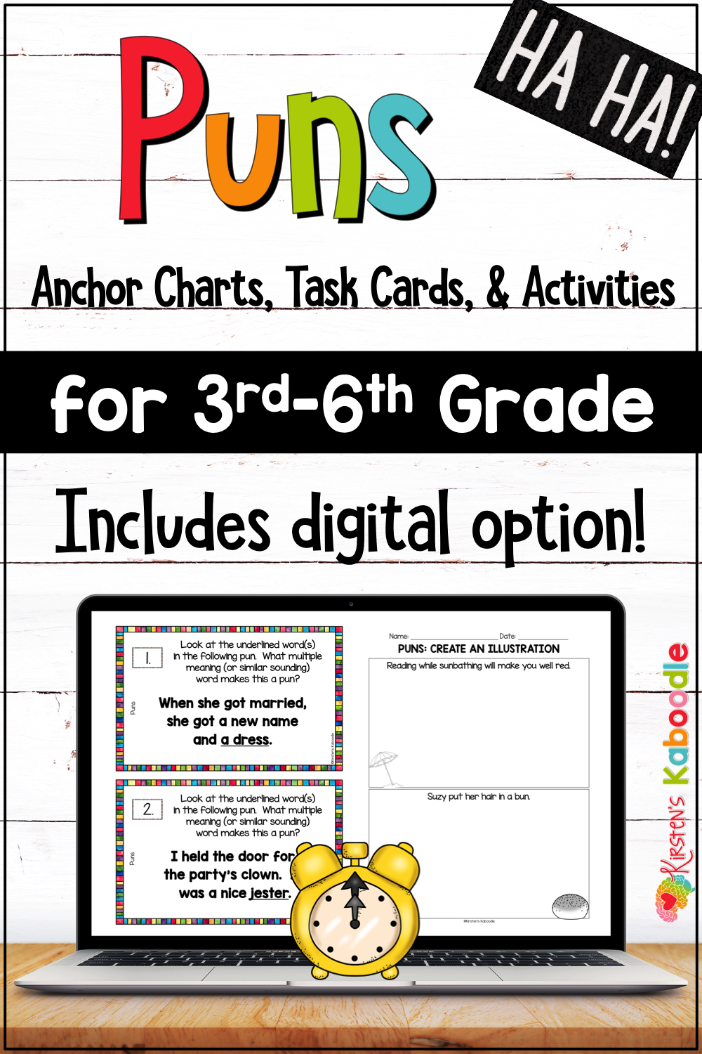 hight resolution of Puns Activities and Task Cards with Digital Option for 3rd