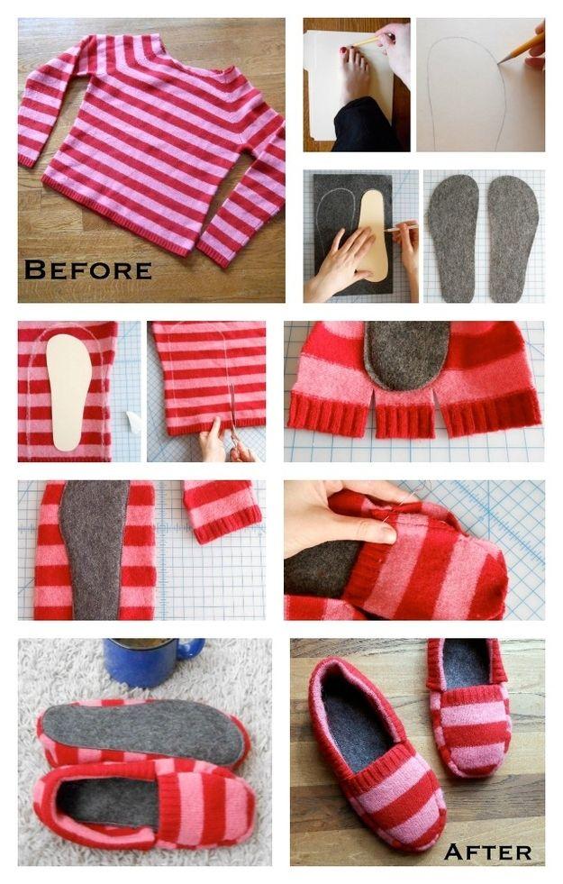 Sweater Slippers Slides - Amazing idea trabajos manuales