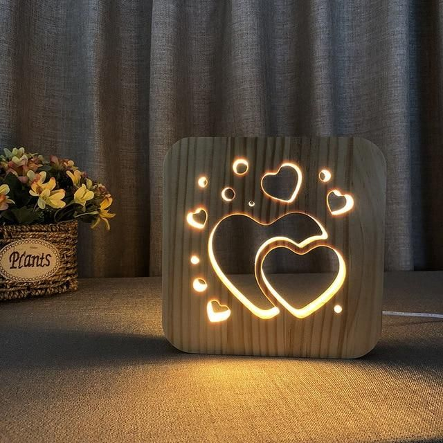 Hearts 3d Wooden Nightlight Creative Lamp Creative Hearts Lamp Nightlight Wooden In 2020 Geschenk Haus Holzleuchte Nachtlicht