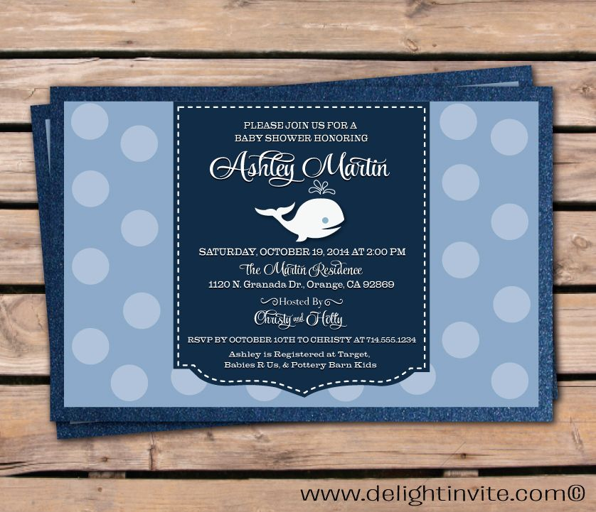 Whale Polkadot Baby Shower Invitation Whale Polkadot Baby Shower ...