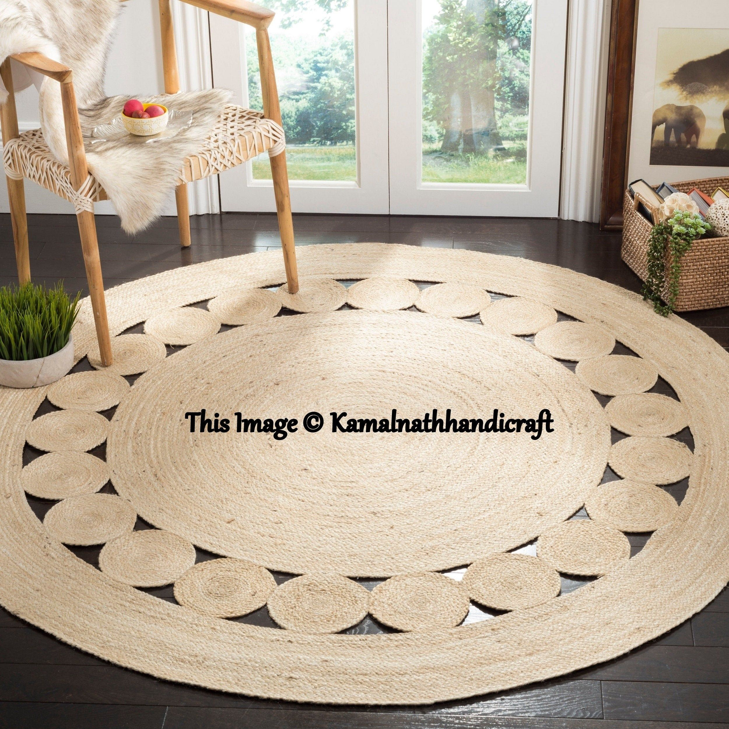 Indian Braided Floor Jute Rug, Natural Jute Rug. N