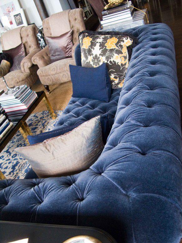 Blue Velvet Chesterfield Sofa Linen Or Fabric Loading Pinterest And Navy George Smith